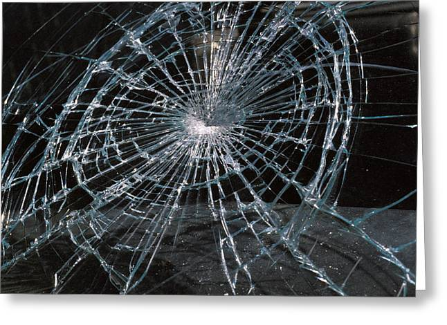 Impacting Greeting Cards - Cracked Glass Of Car Windshield Greeting Card by Anonymous