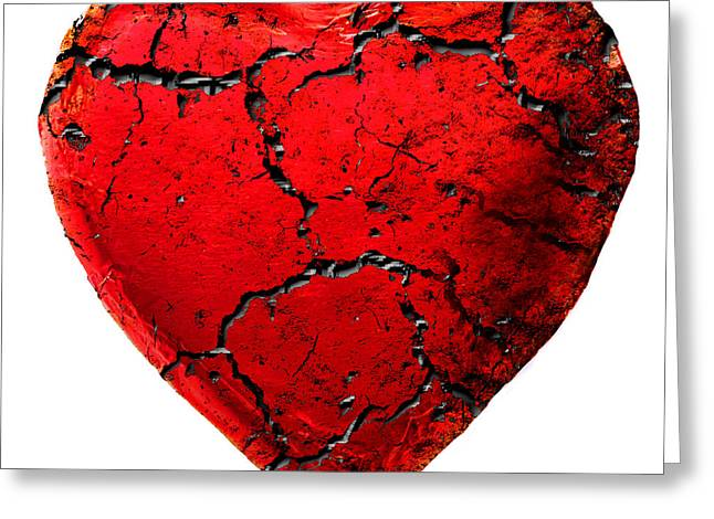 Divorce Greeting Cards - Cracked Heart Greeting Card by Jacqui Martin