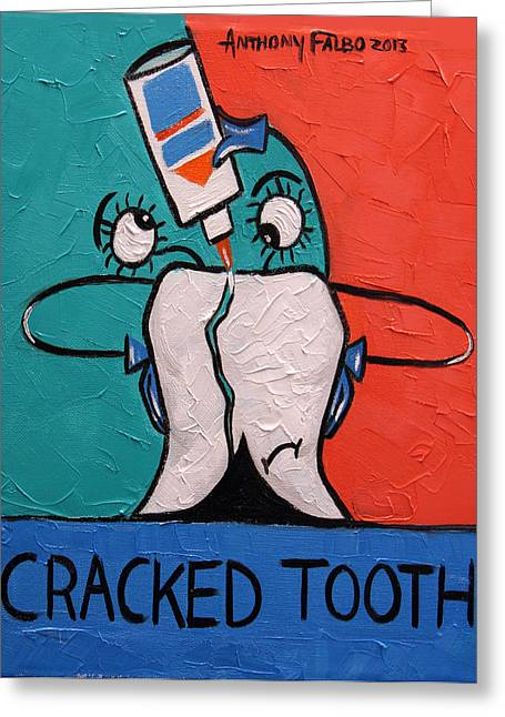 Crack Greeting Cards - Cracked tooth Greeting Card by Anthony Falbo