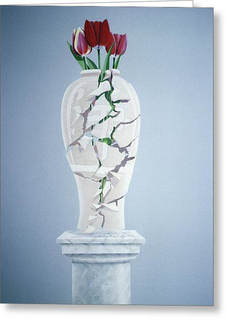 Broken Vase Greeting Cards - Cracked Urn Greeting Card by Lincoln Seligman