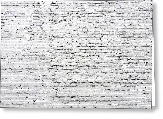 Rectangles Greeting Cards - Cracked white brick wall Greeting Card by Dutourdumonde Photography