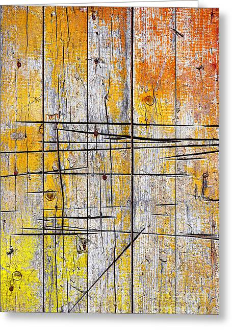 Plank Greeting Cards - Cracked Wood Background Greeting Card by Carlos Caetano
