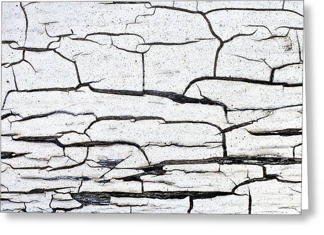 Crack Greeting Cards - Cracked wood pattern Greeting Card by Tom Gowanlock