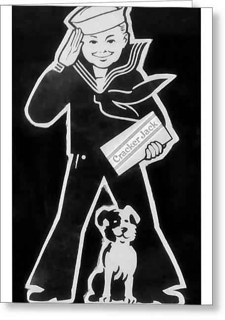 Crackerjack Greeting Cards - Crackerjack Black White Greeting Card by Rob Hans