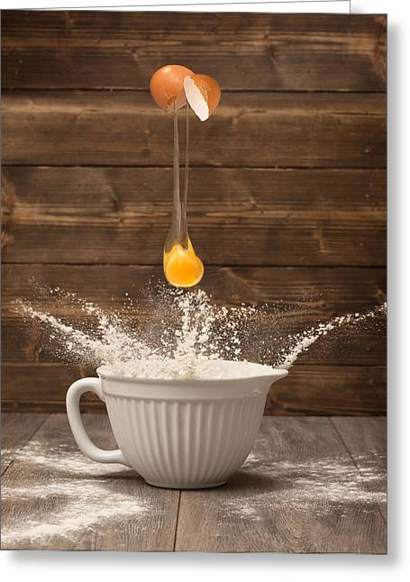Flour Greeting Cards - Cracking The Egg Greeting Card by Amanda And Christopher Elwell