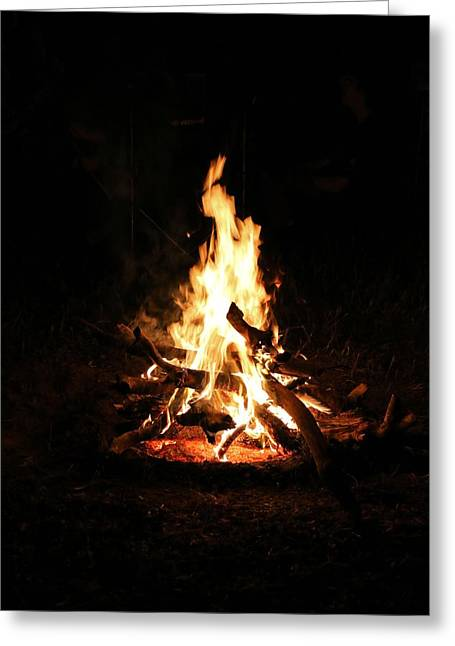 Fire Greeting Cards - Crackling Bush Campfire Greeting Card by StaJa Photography