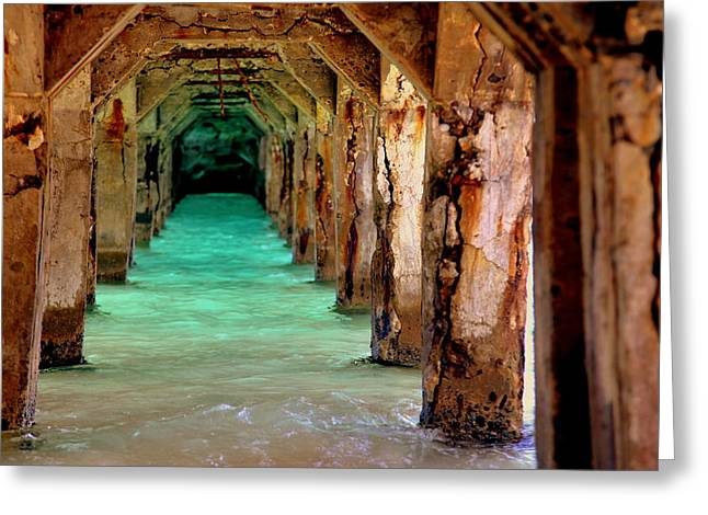 Pier Pilings Greeting Cards - Time Passages Greeting Card by Karen Wiles