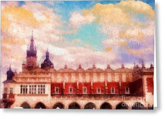 Gold Cloth Greeting Cards - Cracow Cloth Hall Greeting Card by Mo T