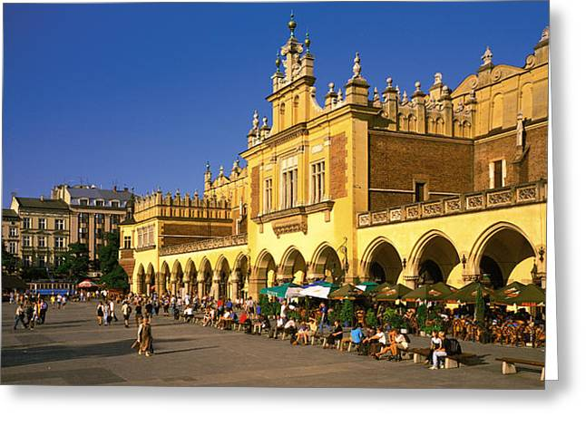Market Square Greeting Cards - Cracow Poland Greeting Card by Panoramic Images