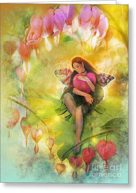 Fairy Hearts Pink Flower Digital Art Greeting Cards - Cradle Your Heart Greeting Card by Aimee Stewart