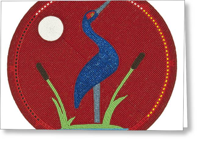 Glass Beads Greeting Cards - Cradleboard Beadwork Summer Crane Greeting Card by Douglas K Limon