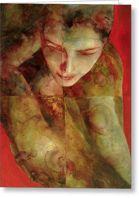 Female Body Paintings Greeting Cards - Cradlesong Greeting Card by Graham Dean