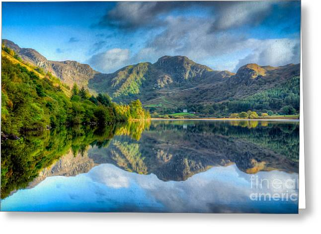 North Wales Greeting Cards - Craf Nant Lake Greeting Card by Adrian Evans