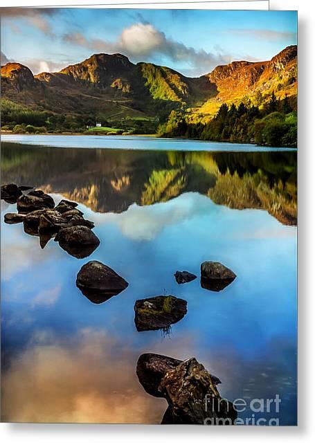 Calm Waters Digital Greeting Cards - Crafnant Rocks v2 Greeting Card by Adrian Evans