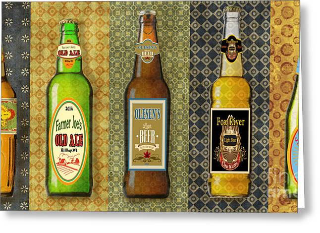 Geometric Digital Art Greeting Cards - Craft Beer Collection Greeting Card by Jean Plout