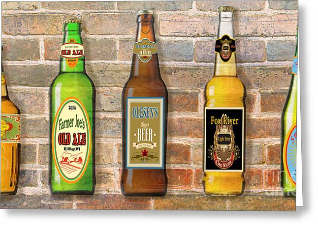 Geometric Digital Art Greeting Cards - Craft Beer Collection on Brick Greeting Card by Jean Plout
