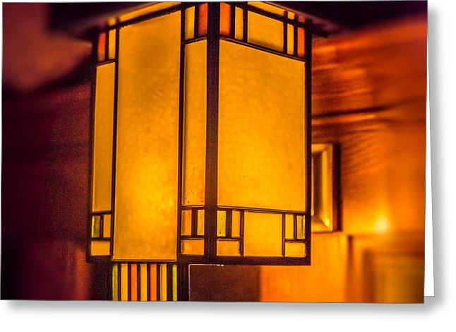Glass And Metal Art Greeting Cards - Craftsman Lamp Greeting Card by Paul Freidlund