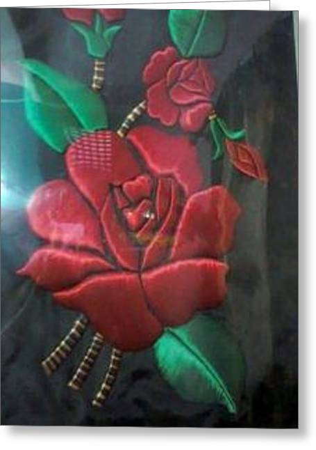 Cloth Glass Art Greeting Cards - Craftwork of Velvet Rose Greeting Card by Deepshikha Dey