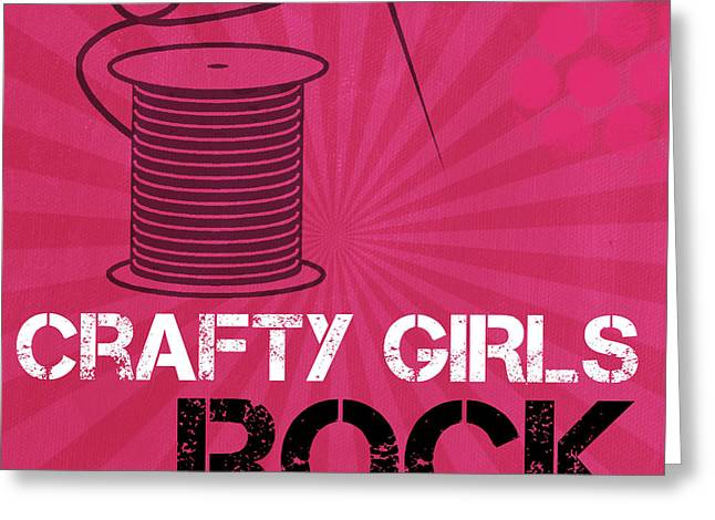 Teen Greeting Cards - Crafty Girls Rock Greeting Card by Linda Woods