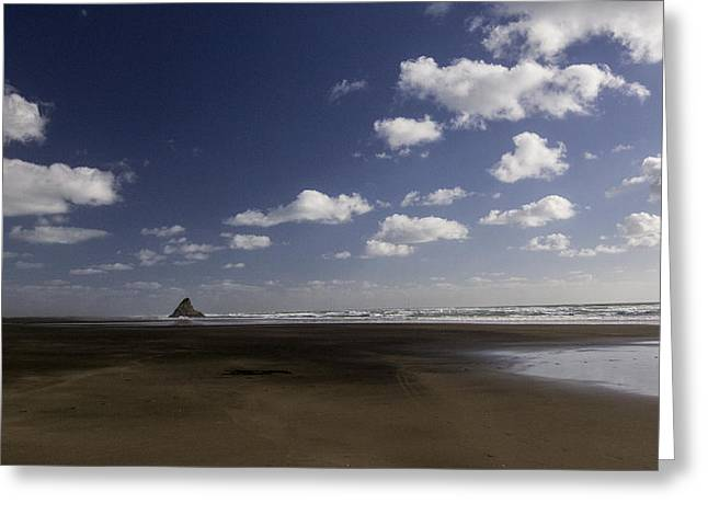 Dog At Beach Photo Greeting Cards - Crag On Piha Beach Greeting Card by Lucian Nistor