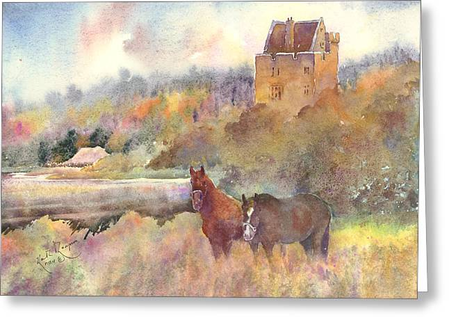 print Paintings Greeting Cards - Craggaunowen County Clare Greeting Card by Keith W Thompson