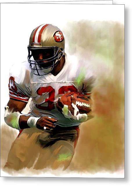 49ers Drawings Greeting Cards - Craig II  Roger Craig  Greeting Card by Iconic Images Art Gallery David Pucciarelli