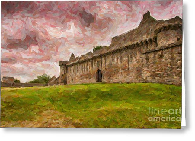Dilapidated Paintings Greeting Cards - Craigmillar Castle Digital Painting Greeting Card by Antony McAulay