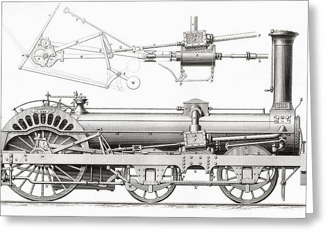 Mechanism Photographs Greeting Cards - Cramptons Railway Steam Locomotive Greeting Card by Ken Welsh