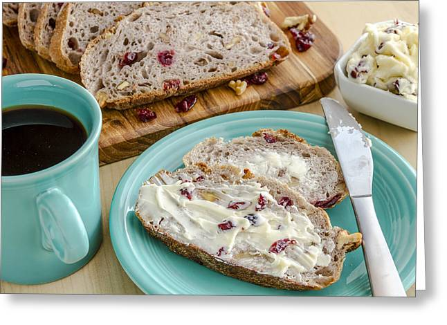 Loaf Of Bread Greeting Cards - Cranberry Walnut Bread Greeting Card by Teri Virbickis