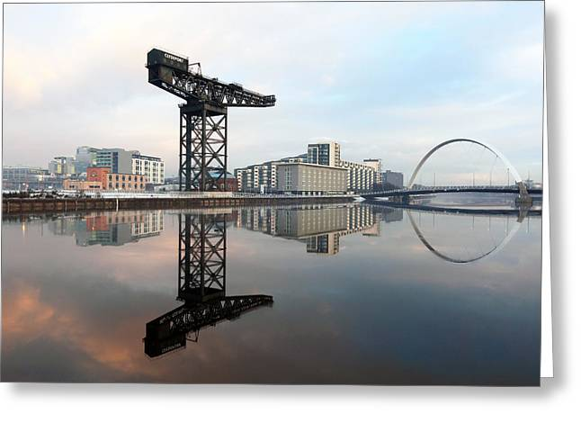 Night Scenes Greeting Cards - Crane and bridge reflection  Greeting Card by Grant Glendinning