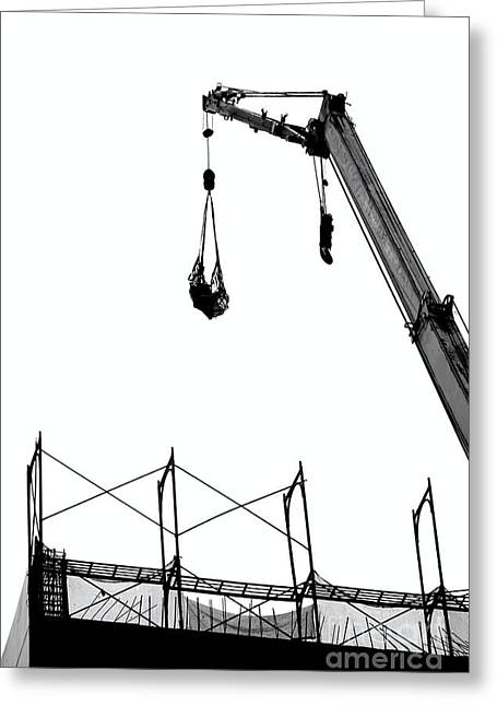 Netting Greeting Cards - Crane and Construction Site Greeting Card by Yali Shi