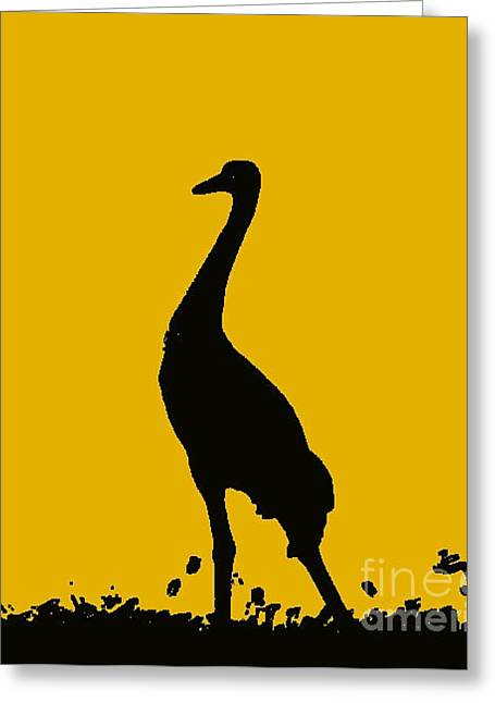 African-americans Greeting Cards - Crane In Yellow Greeting Card by Anita Lewis