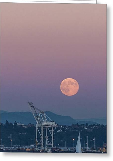 Blue Sailboat Greeting Cards - Crane Moon Sail Greeting Card by Scott Campbell