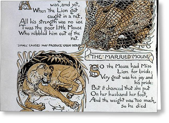 Crane Mouse And The Lion Greeting Card by Granger