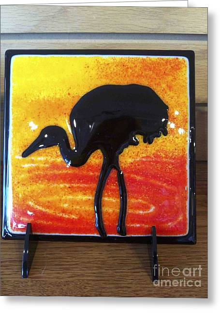 Silhouettes Glass Art Greeting Cards - Crane Tile Greeting Card by Margaret Donat