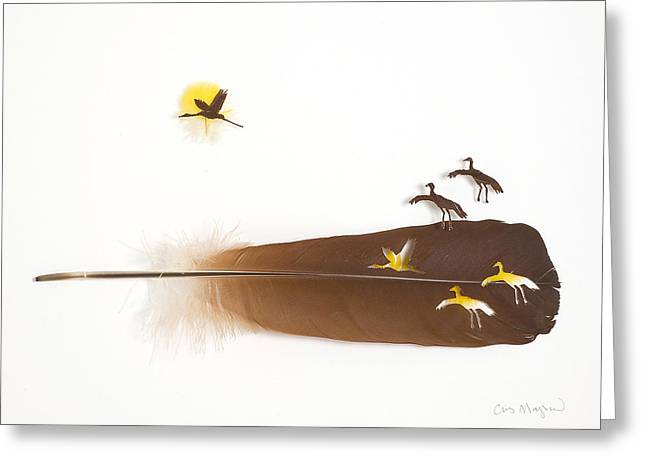 Feather Mixed Media Greeting Cards - Cranes Greeting Card by Chris Maynard