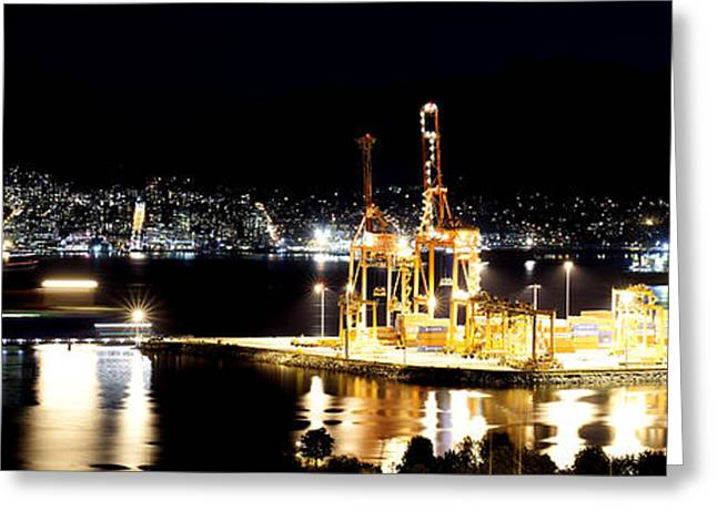 Cambria Greeting Cards - Cranes in the Port of Vancouver Greeting Card by Neil Webb