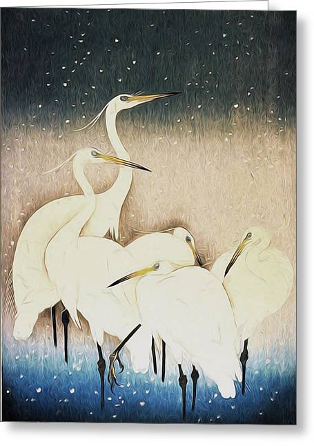 Asian Art Greeting Cards - Cranes  Greeting Card by Shanina Conway