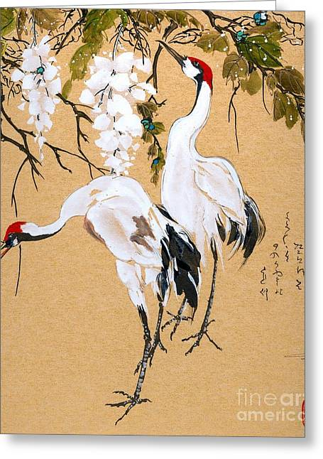 Linda Smith Greeting Cards - Cranes under Wisteria Greeting Card by Linda Smith