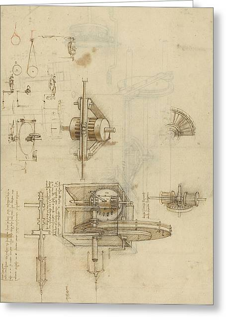 Genius Greeting Cards - Crank spinning machine with several details Greeting Card by Leonardo Da Vinci