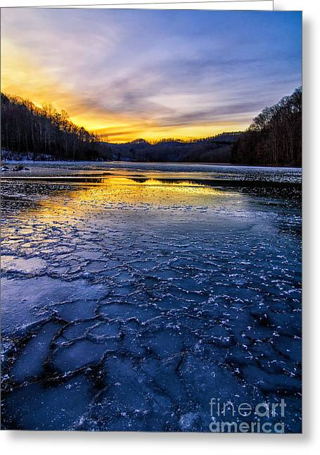 Crank Greeting Cards - Cranks Creek sunset and ice Greeting Card by Anthony Heflin