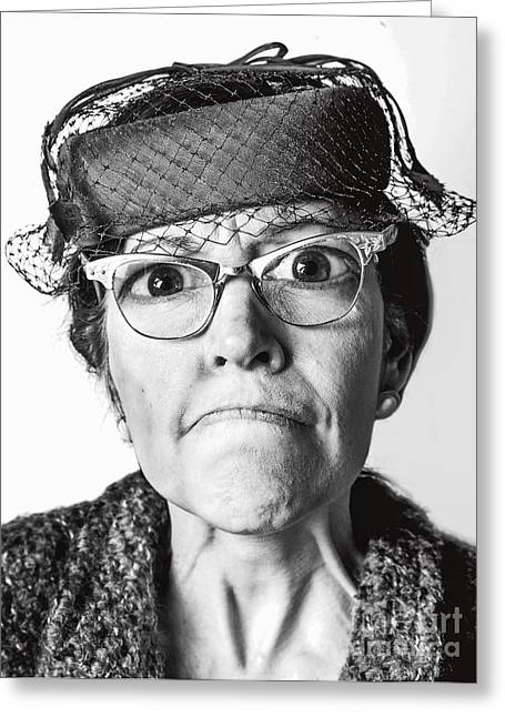 Citizens Photographs Greeting Cards - Cranky Old Lady Greeting Card by Diane Diederich