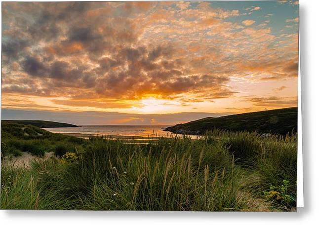 Jeremy Greeting Cards - Crantock sunset Greeting Card by Jeremy Sage