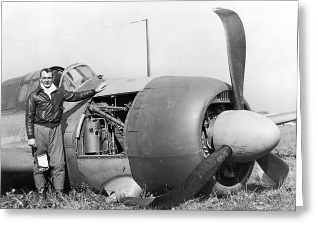 Crash Landed Airplane Greeting Card by Underwood Archives