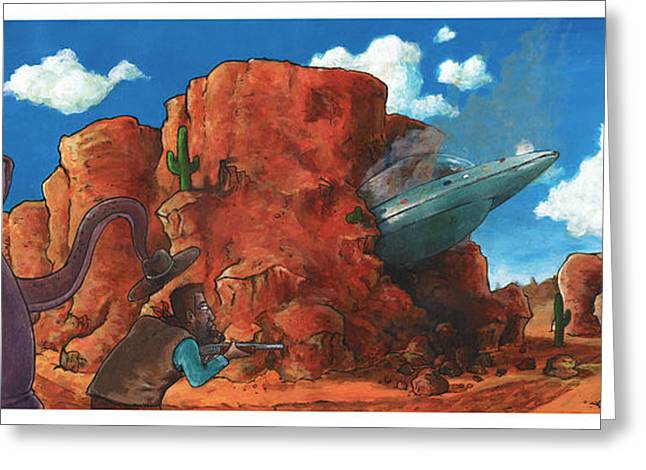 Outer Space Paintings Greeting Cards - Crash Landing Greeting Card by Richardson Comly