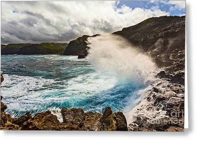 ; Maui Greeting Cards - Crash - large wave on the rugged West Coast of Maui. Greeting Card by Jamie Pham