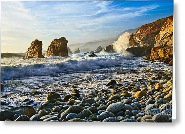 Big Sur Greeting Cards - Crash - Waves from Soberanes Point in Garrapata State Park in California. Greeting Card by Jamie Pham
