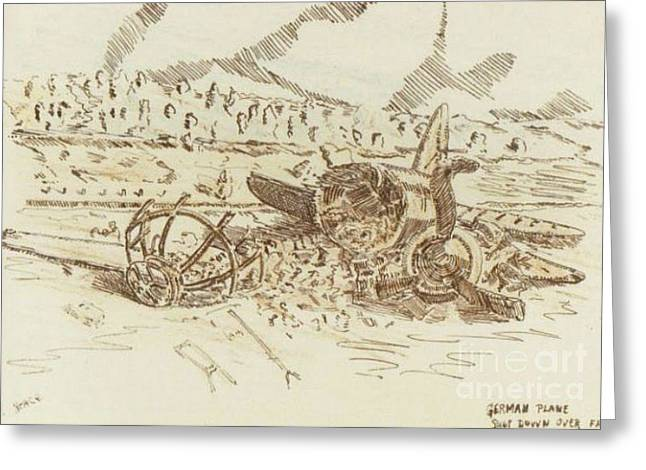 Ww Ii Drawings Greeting Cards - Crashed German Plane Greeting Card by David Neace