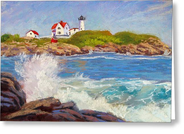 Maine Lighthouses Pastels Greeting Cards - Crashing at Nubble Light Greeting Card by Jason Walcott