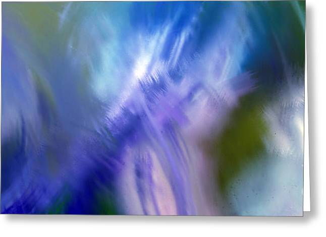 Blue Green Wave Greeting Cards - Crashing At Sea Abstract Painting 2 Greeting Card by Andee Design